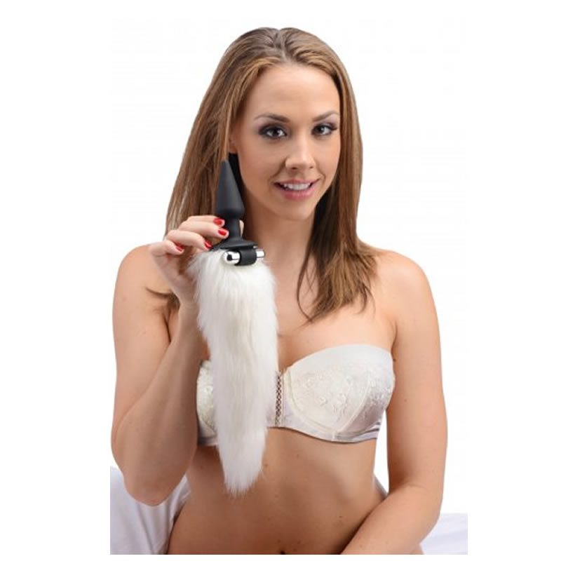 Vibrating White Tail Anal Plug